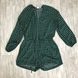 H&M Green Long Sleeve Romper
